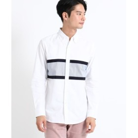(THE SHOP TK/ザ ショップ ティーケー)ブロッキング切替シャツ/メンズ オフホワイト(403)