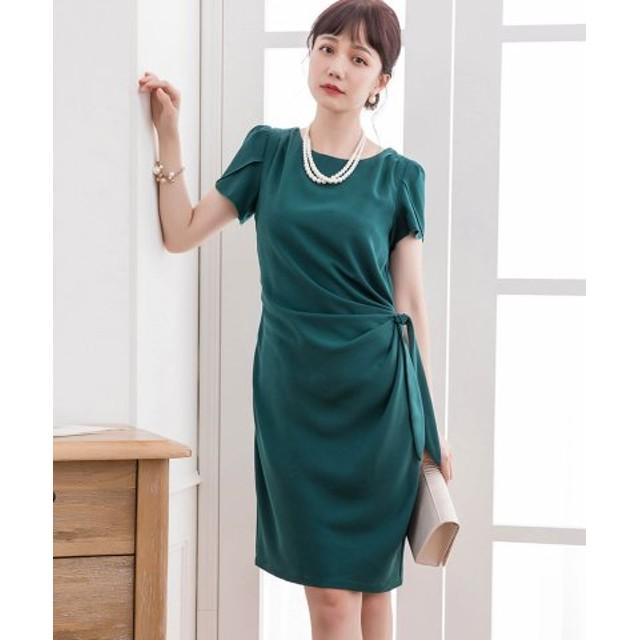 (DRESS STAR/ドレス スター)ペタル(チューリップ)スリーブサイドリボンドレーブワンピース/レディース グリーン 送料無料