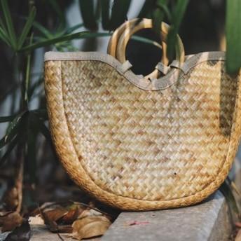 【受注製作】南国風!天然素材のオリジナル手編みハンドかごバッグ CT0125