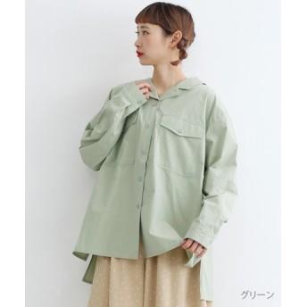(merlot/メルロー)オープンカラーバックリボンシャツ/レディース グリーン