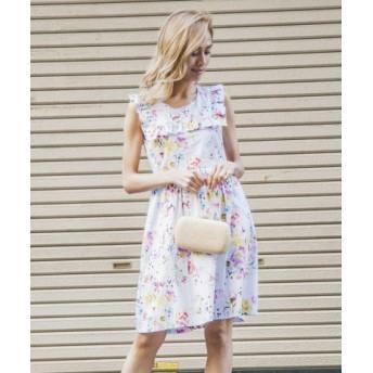 (Million Carats/ミリオンカラッツ)スクエアフリルワンピース[DRESS/ドレス]/レディース ホワイト 送料無料