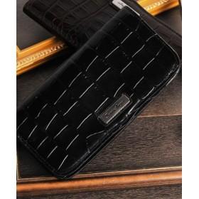 (sankyoshokai/サンキョウショウカイ)ルイ・アンジュ 牛革 レザー イタリア クロコ型押し 長財布/レディース ブラック