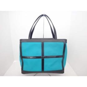 【中古】 イヴサンローラン YvesSaintLaurent ハンドバッグ 黒 エメラルドグリーン レザー ナイロン