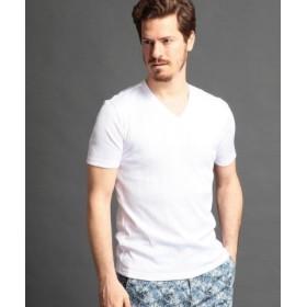 (MONSIEUR NICOLE/ムッシュニコル)半袖VネックTシャツ/メンズ 09ホワイト