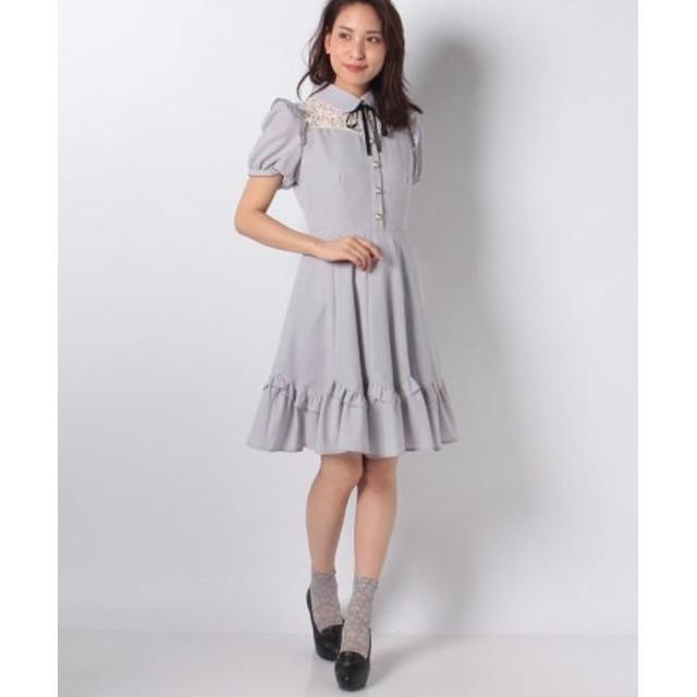 f903d9e1138b9 (Secret Honey/シークレットハニー)裾スカラフリルワンピース/レディース グレー 送料無料