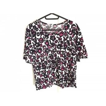 【中古】 レリアン Leilian 半袖Tシャツ サイズ13 L レディース 白 ダークネイビー ピンク 花柄