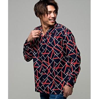 (SILVER BULLET/シルバーバレット)CavariA【キャバリア】幾何学柄長袖開襟シャツ/メンズ ネイビー