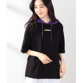 (WEGO/ウィゴー)WEGO/フード付きプリントTシャツ/ユニセックス ブラック