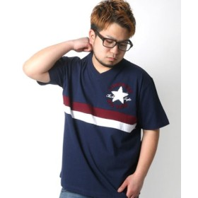 (MARUKAWA/マルカワ)【CONVERSE】 大きいサイズ 半袖 Tシャツ サガラ 刺繍/メンズ ネイビー