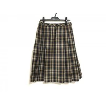 【中古】 レリアン Leilian スカート サイズ11 M レディース ネイビー ブラウン マルチ チェック柄