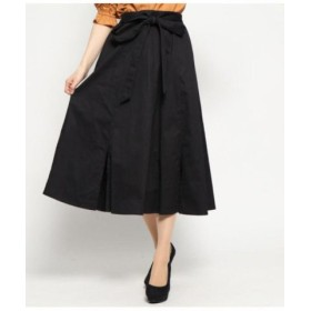 (AULI/アウリィ)裾スリットフレアスカート/レディース ブラック