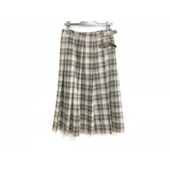 【中古】 レキップ ヨシエイナバ 巻きスカート サイズ9 M レディース アイボリー ダークブラウン グレー
