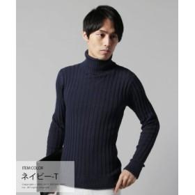 (THE CASUAL/ザ カジュアル)(バイヤーズセレクト) Buyer's Select コットン100%バレンシアリブ編みタートルネックニット/メンズ ネイビー
