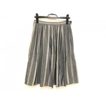 【中古】 マーガレットハウエル スカート サイズ2 M レディース 美品 グレー アイボリー ストライプ