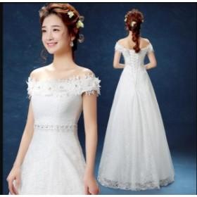 オフショルダー パーティードレス マキシ丈 結婚式 お呼ばれ 二次会 大きいサイズ フォーマル イブニングドレス ウエディングドレス20代3