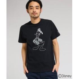 (BASE STATION/ベースステーション)【WEB限定】 DISNEY ディズニー Tシャツ シルエット 星柄 半袖Tシャツ (ドナルドダック)/メンズ ブラック(019)