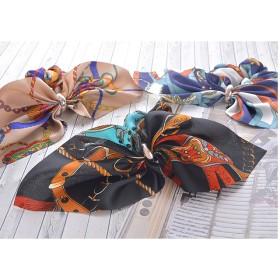 シュシュ - PARIS KID'S シュシュ リボン りぼん スカーフ柄 ヘアアクセサリー ヘアアクセ プリント eft Luxury's ラグリーズ サテン 上品 大人華やか 送料無料 j3s