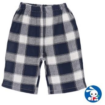 ステテコ(先染め格子柄)(ネイビー)【80cm・90cm・95cm】[ ステテコ すててこ 半ズボン ハーフパンツ 部屋着 ルームパンツ パジャマ