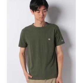 (JEANS MATE/ジーンズメイト)【CHAMPION】ワンポイントTシャツ/メンズ ダークグリーン