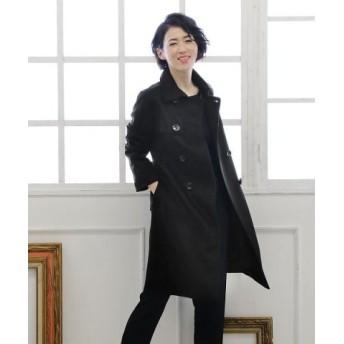 (sankyoshokai/サンキョウショウカイ)カシミヤ 100% トレンチ コート ダブル仕立て 着丈95cm/レディース ブラック 送料無料