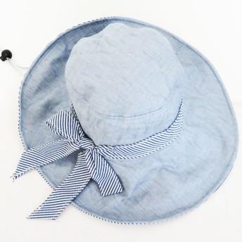 キャップ - SHES COMPANY 【2019新作】帽子 夏 つば広UVハット アゴ紐付き アスクセント ストライプ 折りたたみ