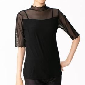 【オンワード】 Chacott(チャコット) 七分袖Tシャツ ブラック M レディース