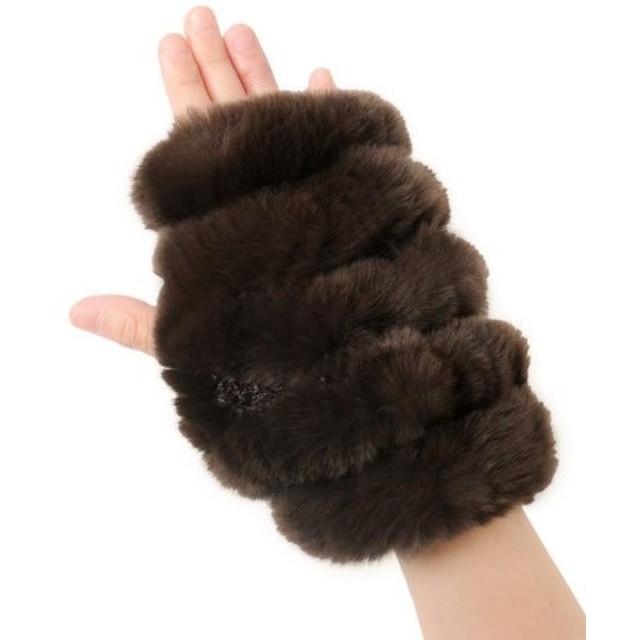 (sankyoshokai/サンキョウショウカイ)手袋 指なし ミトン ハンドウォーマー ファー 毛皮 レッキス ニット/レディース ダークブラウン