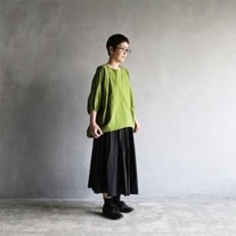 HUIS遠州織物ゆるふわコットンコクーンプルオーバ(グラスグリーン)