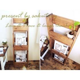 アンティーク風 壁掛け本棚 木製ブックシェルフ W