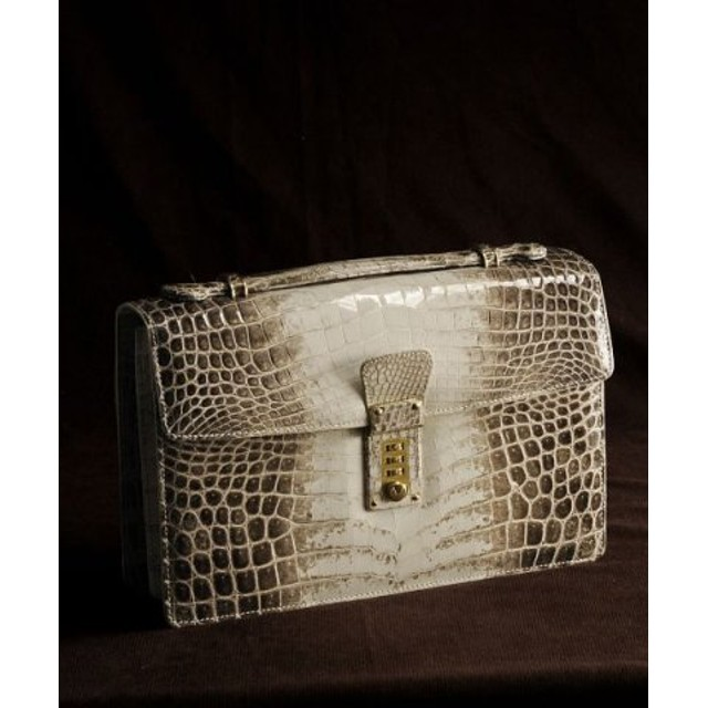 (sankyoshokai/サンキョウショウカイ)日本製 ヒマラヤ クロコダイル メンズ ハンドバッグ 横幅27cm/メンズ ホワイト