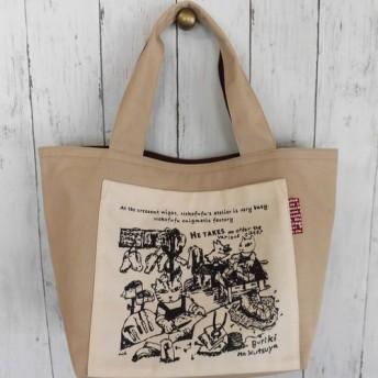 猫夫婦/手さげトートバッグ/ベージュの帆布/ポケット「ブリキの靴屋」手刷り/リバーシブルOK〈送料無料〉