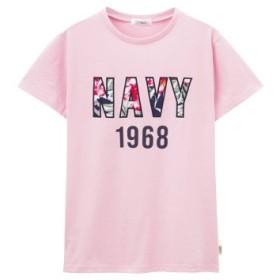 (MAC HOUSE/マックハウス)Navy NAVYロゴ花柄ワッペンTシャツ EJ193-WC157/レディース ピンク