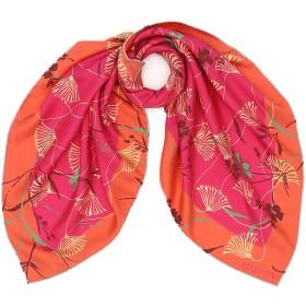 【64%OFF】ボタニカル柄 配色 スカーフ ピンク