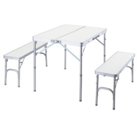 (LivingLinks/リビングリンクス)テーブル&ベンチセット/ユニセックス シルバー