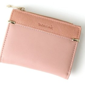 (REAL STYLE/リアルスタイル)フェイクレザー切替デザイン二つ折り財布/レディース ピンク