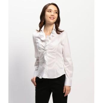 (NARA CAMICIE/ナラカミーチェ)コットンツイル衿付フリル長袖シャツ/レディース ホワイト 送料無料