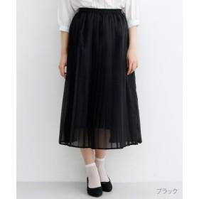 (merlot/メルロー)【plus】シフォンプリーツスカート/レディース ブラック