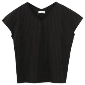 (MAC HOUSE/マックハウス)Navy リブVネックTシャツ NVCS9005/レディース ブラック