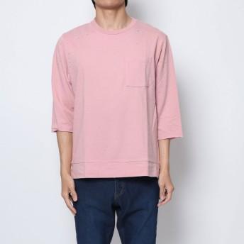 セブンデイズ サンデイ SEVENDAYS=SUNDAY outlet ダメージ加工 7分袖プルオーバー (ピンク)