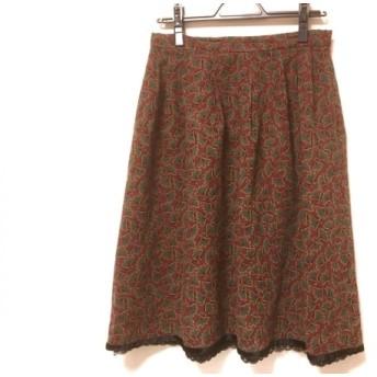 【中古】 ユキトリイ YUKITORII スカート サイズ40 M レディース ボルドー グリーン マルチ