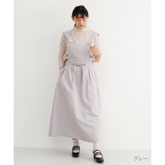 (merlot/メルロー)【plus】ウエストリボンボックスタックジャンパースカート/レディース グレー