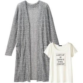 40%OFF【ティーンズ】 ロングカーディガン&半そでTシャツ - セシール ■カラー:グレー ■サイズ:M,L