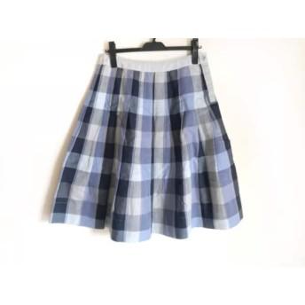 【中古】 マーガレットハウエル スカート サイズ2 M レディース ネイビー ブルー グレー チェック柄