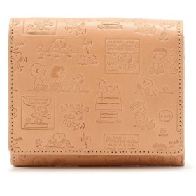 (RoyalFlash/ロイヤルフラッシュ)PEANUTS/スヌーピー コミック柄 革製 二つ折り財布/メンズ BEIGE