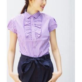 (NARA CAMICIE/ナラカミーチェ)ミラノストライプ衿付フリルタック半袖シャツ/レディース パープル系