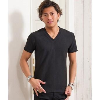 (SILVER BULLET/シルバーバレット)CavariA【キャバリア】ジャガードストライプVネック半袖Tシャツ/メンズ ブラック