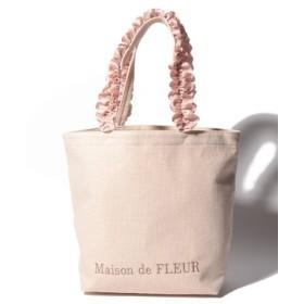 (Maison de FLEUR/メゾンドフルール)バスケットクロスフリルハンドルトートMバッグ/レディース ピンクベージュ