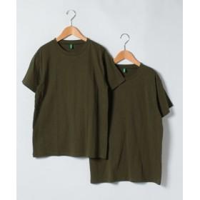 (BENETTON (UNITED COLORS OF BENETTON)/ベネトン(ユナイテッド カラーズ オブ ベネトン))クルーネックパックTシャツ・カットソー2枚セット/メンズ カーキ