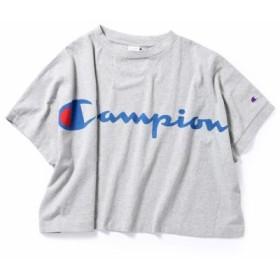 (HusHusH/ハッシュアッシュ)【Champion】WEB限定 Tシャツ(ビッグロゴ)/レディース グレー(012) 送料無料