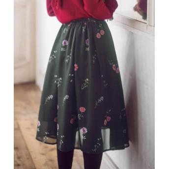 (GeeRa/ジーラ)ブーケ花柄プリントスカート /レディース ブラック系 送料無料